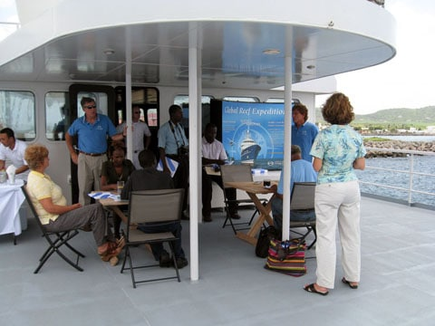 Press conference held aboard the M/Y Golden Shadow