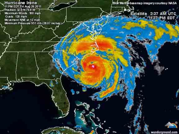 Satellite image of Hurricane Irene