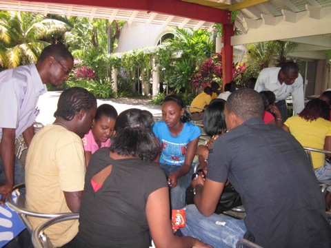 Students from Port Antonio High School and CASE discuss priority conservation areas in Jamaica.