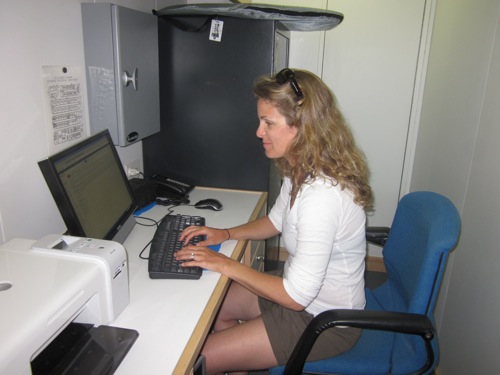 Mandy Karnauskas in the ship's office.