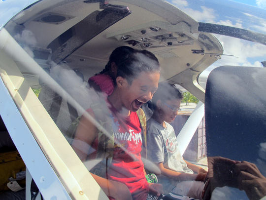 Students enjoyed the chance to sit in the Golden Eye seaplane