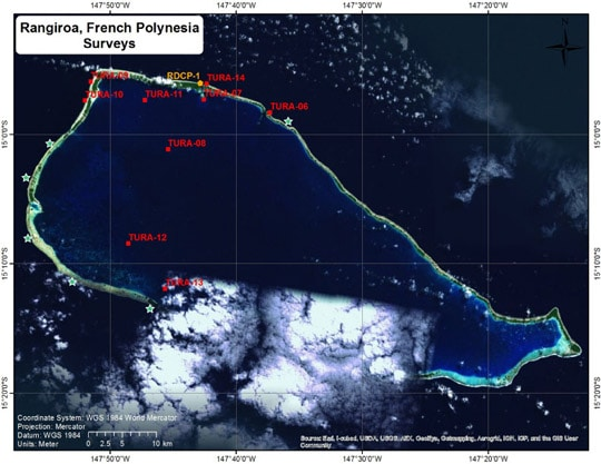 A map of Rangiroa showing the surveys done in November (red) and the surveys already done on this mission (green).