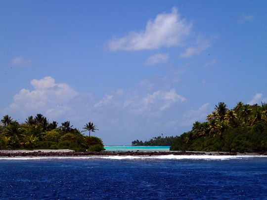 The ring of land that makes up the atoll isn't very high and there are often gaps and breaks in the ring